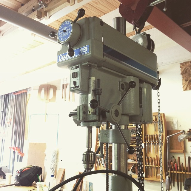 Oh man… I am so excited about this- I picked up this ridiculous old (but not that old! And not that used!) Clausing drill press from a gentleman who is closing up his shop in Dallas. It weighs about a billion pounds, and runs like a top. I cannot wait to get this thing going. #Clausing #MadeInUSA