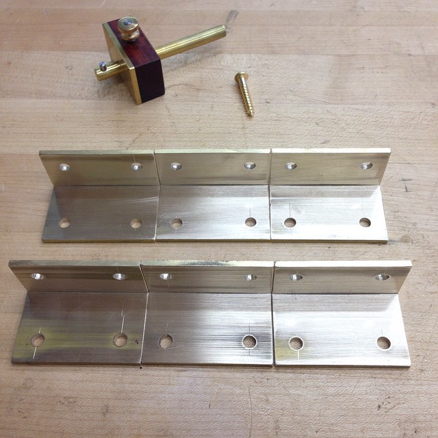 "This morning's project: mounting brackets for the mirrors, made from 1-½"" brass angle stock. #giganticmirrors"