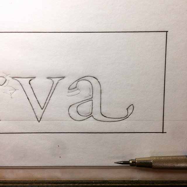 Working on the working drawing for a swashbuckling new lettering project. #lettercarving