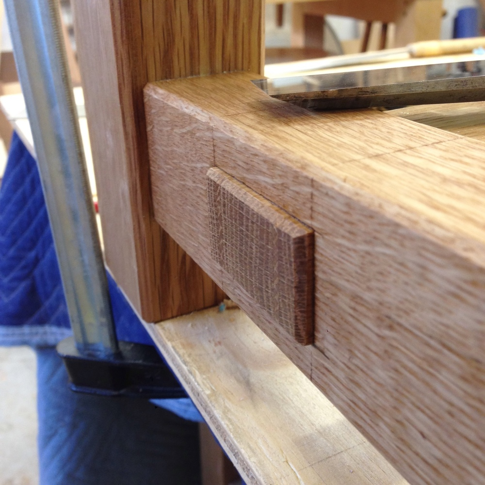 Detailing one of the wedged through-tenons for one of the picnic table benches. I'm excited to see these things all put together.