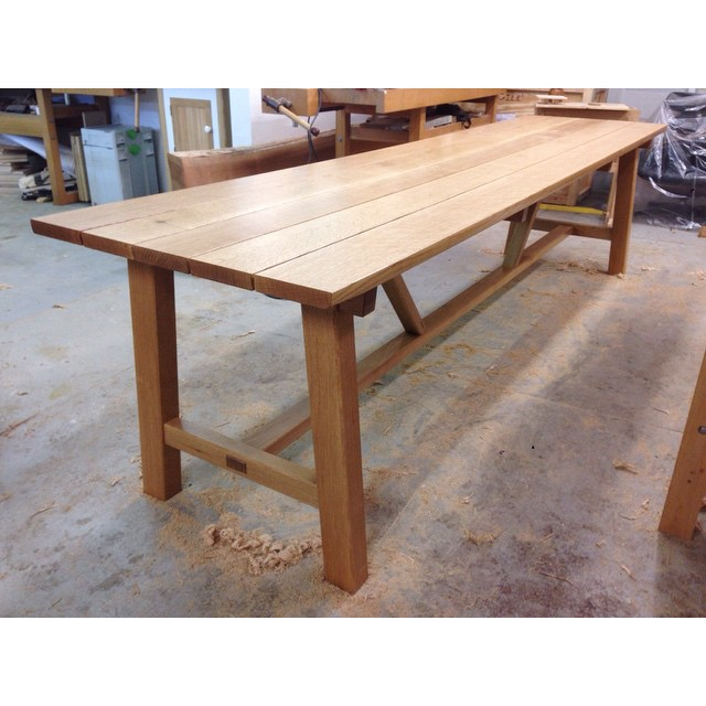 """And done! Picnic table, riftsawn white oak, 10'L x 30""""W.  On to the benches… #madeinhouston #diningdiscourse #ticktock"""