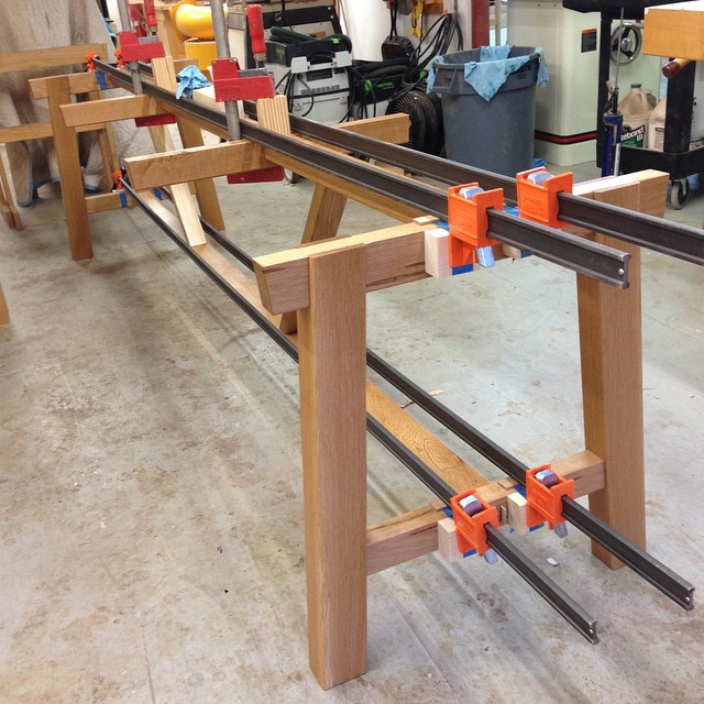 Picnic table base is all glued up. On to hardware and benches. #diningdiscourse