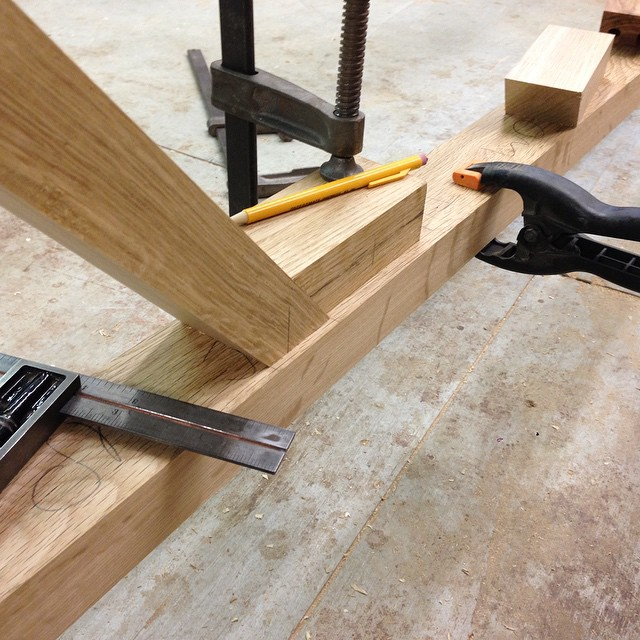 Locating the mortises for the angled truss-stretchers. Thinking about how to do this made me want to take a nap under my bench. #diningdiscourse