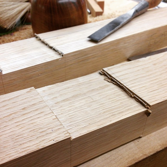 Chopping out shoulders for the hunched bridal joints. The spandrel (the recessed part in the middle), was done freehand with a router. #diningdiscourse