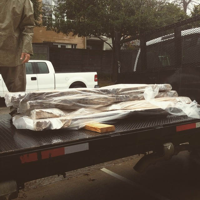 "3 gigantic slabs of 12/4 pecan, heading out the door on this extra-rainy day. I had big plans* for these, but it was never meant to be. Hopefully someone else will put these to good use down the road. Onward and upward, as they say. #diningdiscourse *And by ""plans,"" I mean ""hoping I will come up with some kind of plan at an unspecified future time, because right now thinking of what to do with these things is making me want to take a nap."""