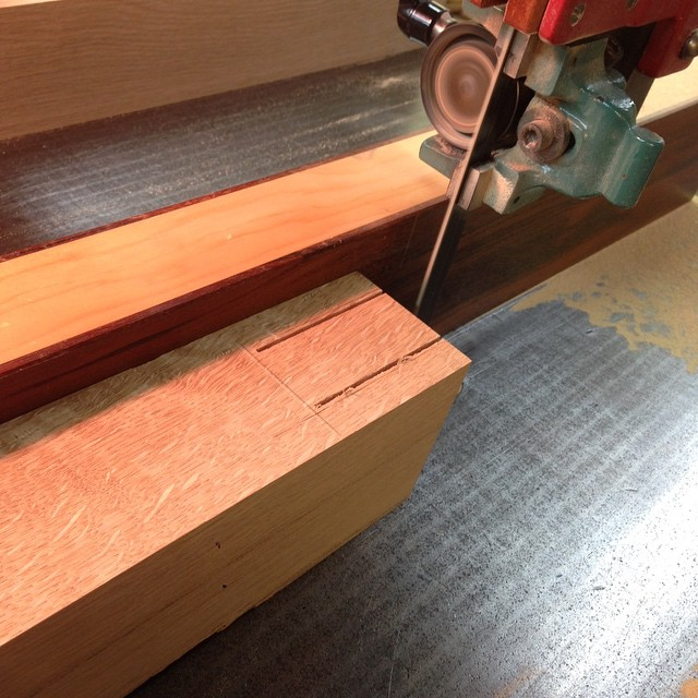 And now back to our regularly-scheduled programming. Sawing out the inside faces of the bridal joints in the legs. #diningdiscourse