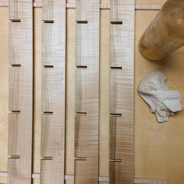 Polishing curly maple divider parts. #letsmakeadresser