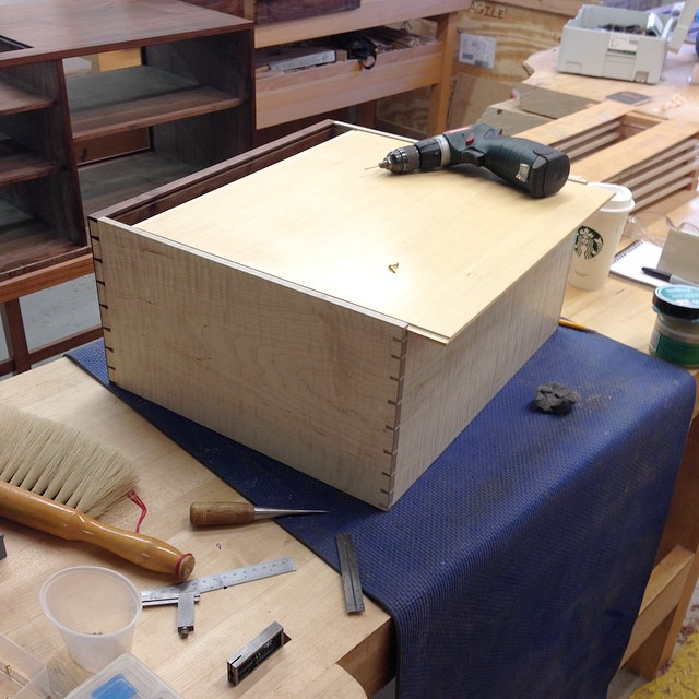 Last few things for the drawers- installing the Port Orford cedar bottoms, and a thin coat of wax of the sides to keep them from getting scungy. The handles will get installed on Wednesday. Man o man I'm excited. #letsmakeadresser