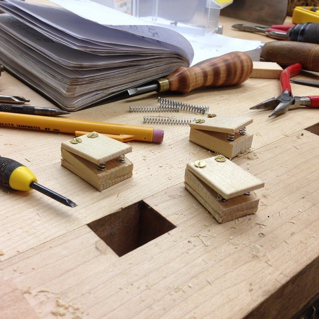 Drawer catch prototypes. Chomp chomp chomp. #letsmakeadresser #theyarehungry