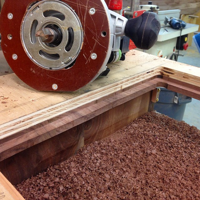 Milling the rabbet the shelf will sit on. #letsmakeadresser
