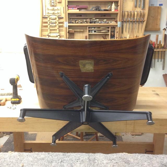 Rainy Saturday Eames chair repair.