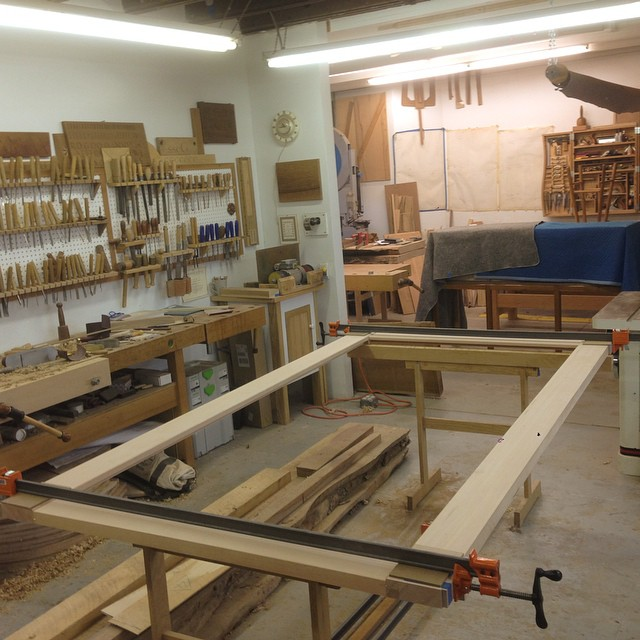 Fhew. Gigantic Douglas Fir mirror frame is all glued up. Kind of a last-minute deal, for a store here in town that I believe is opening on Black Friday. Deadlines are fun. #giganticmirror #seasonsgreetings #bestbuy #shoppingisimportant