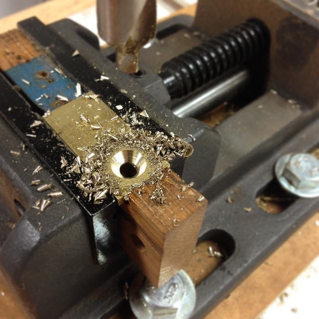 Drilling countersinks for brass hold-down tabs. #letsmakeadresser