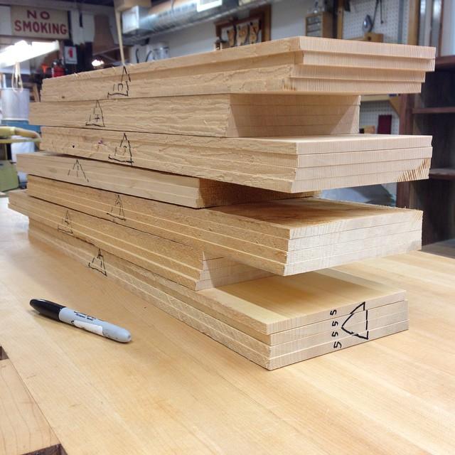 Big stack of freshly-milled Port Orford cedar drawer-bottom blanks. It smells crazy in here. #smells #letsmakeadresser