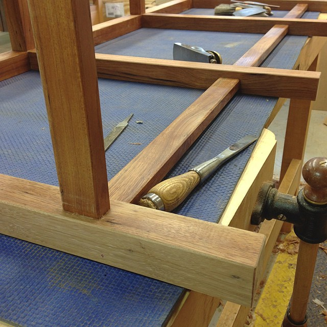 Last few little details before the last stage of finishing. All the legs and rails are planed flush, all surfaces are scraped and sanded (pecan is the official wood of Tearout City), and all edges have been chamfered. This is one of my favorite parts of any project- when things start to go from this kind of oddball assortment of glued-together pieces into something resembling a cohesive structure. (Also, I really like planing tiny chamfers into stuff.) #letsmakeadresser