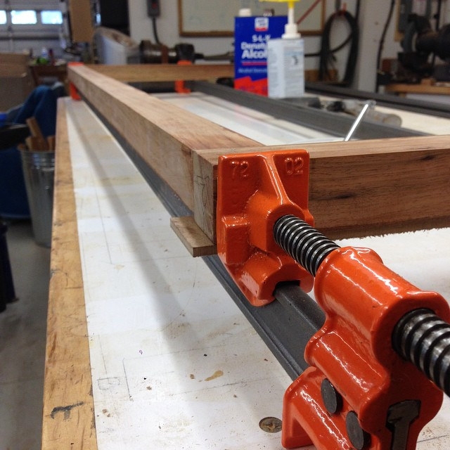 First of three glueups to get the stand put together. Also, Jorgensen I-beam clamps are awesome. #madeinUSA #letsmakeadresser