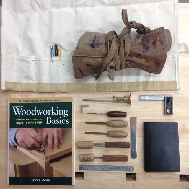 "Packing for Maine: pencils, tool roll, apron, Woodworking Basics, Tite-Mark, dovetail marker, dovetail chisels, 150mm rule, 4"" square, Miquelrius notebook. I'm excited. #woodschool #cfc"