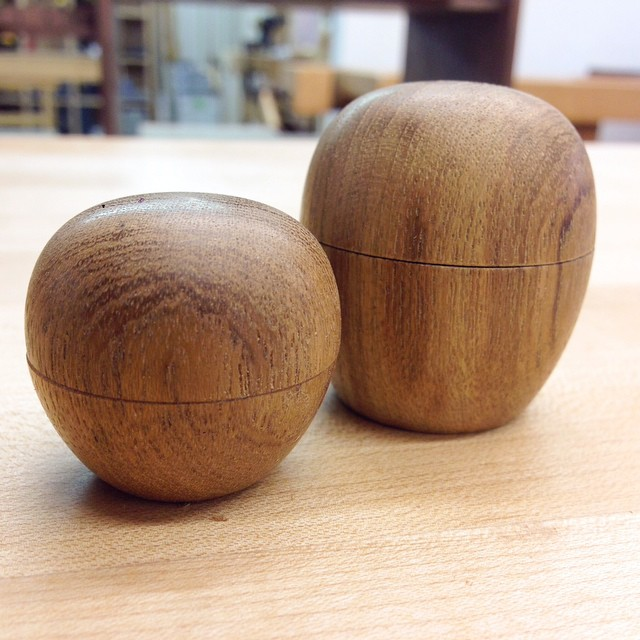 "Tiny teak boxes! Both are about 1"" in diameter. I was really excited to make these."