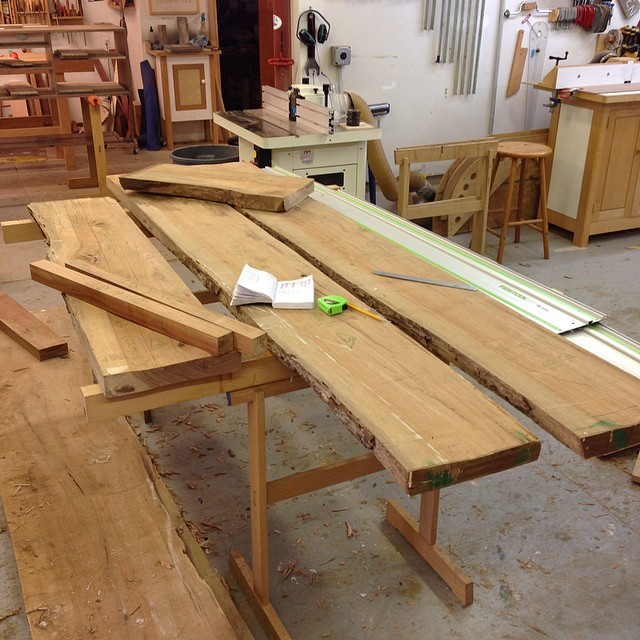 Laying out parts for the stand in some flitch-cut pecan. #letsmakeadresser