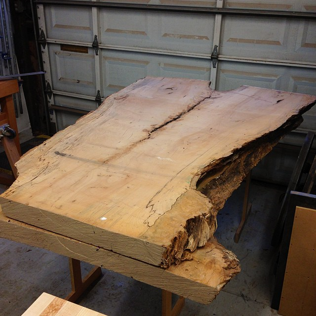 Exciting wood score from Tuesday: two massive 12/4 flitch-cut slabs of pecan for an upcoming project. Stay tuned! #dininganddiscourse
