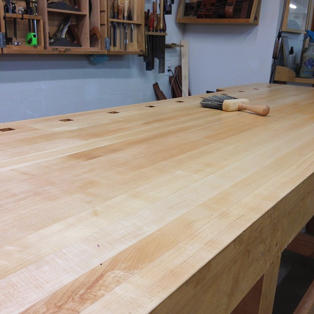 This maple benchtop cleans up pretty nice. I will say this- despite earlier sad sack handwringing over, you know, Feelings and whatnot, it's exciting to have what feels like a brand new bench here at the shop. I can't wait to get back to work on it. #woodworking #lienielsen #exciting
