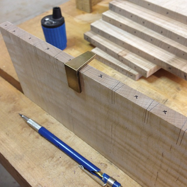 Laying out pins for the backs of the drawers. #letsmakeadresser #dovetails #pinsfirst