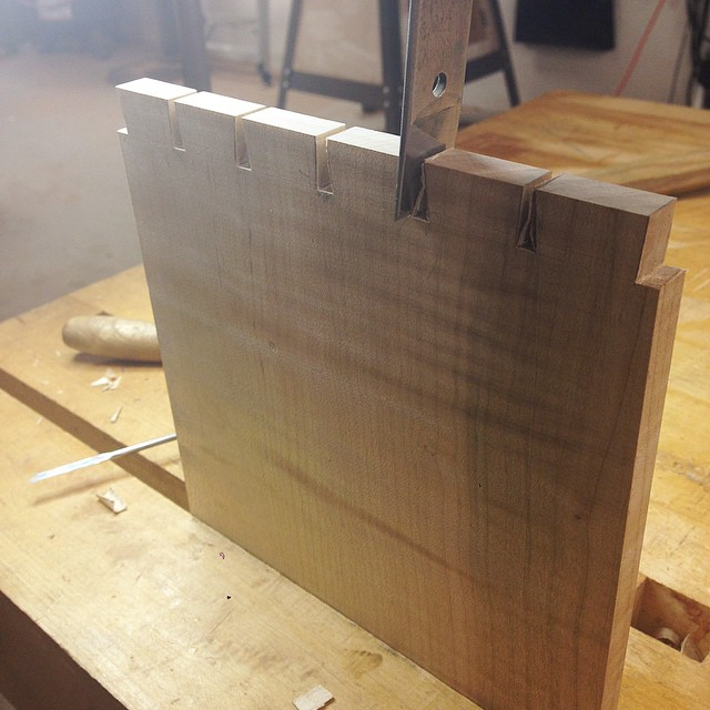 Paring tails on one of the drawer sides. #dovetails #letsmakeadresser