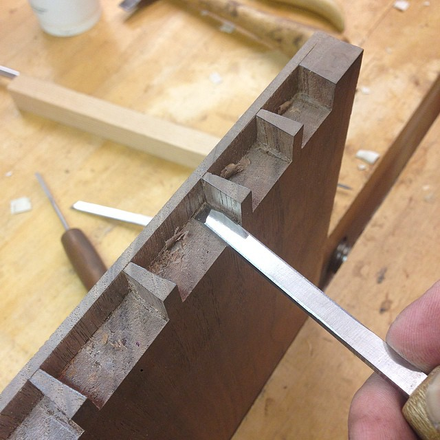 Cleaning out scrumbly bits before test-fitting. #dovetails #letsmakeadresser