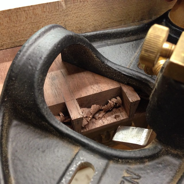 Planing the web on the drawer front to thickness with this fancy router plane. #dovetails #letsmakeadresser