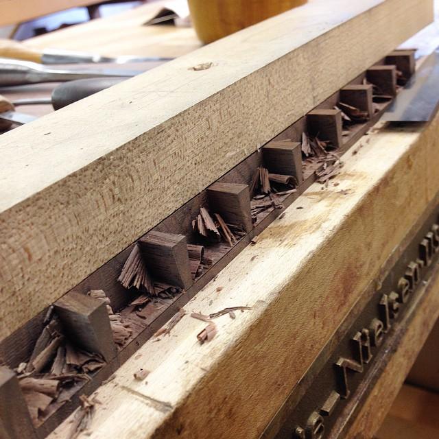 Paring drawer-front pins. #dovetails #letsmakeadresser