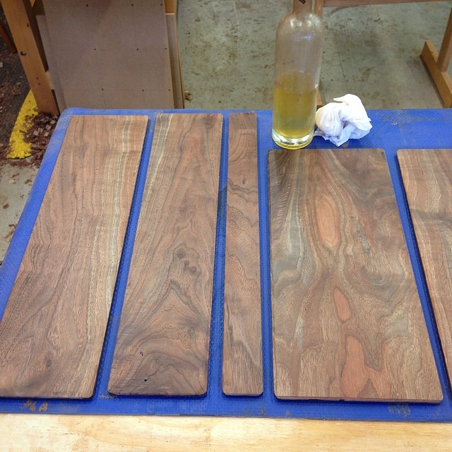 First few coats of super-thin shellac on the interior sides of the back panels. #walnut #letsmakeadresser