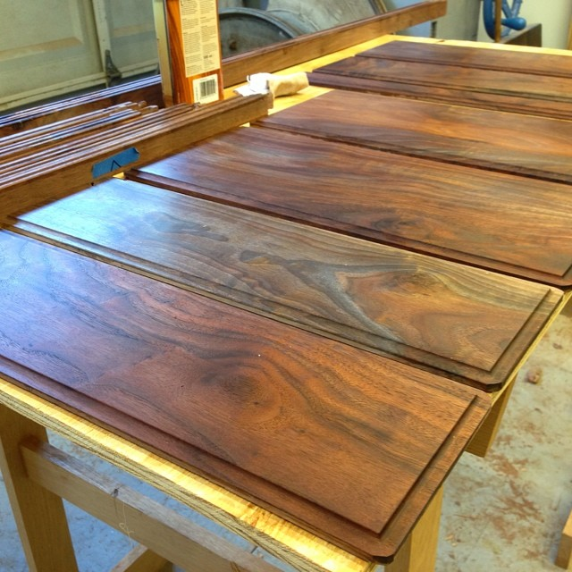 First coat of oil on the back panels and frame parts. #letsmakeadresser #walnut
