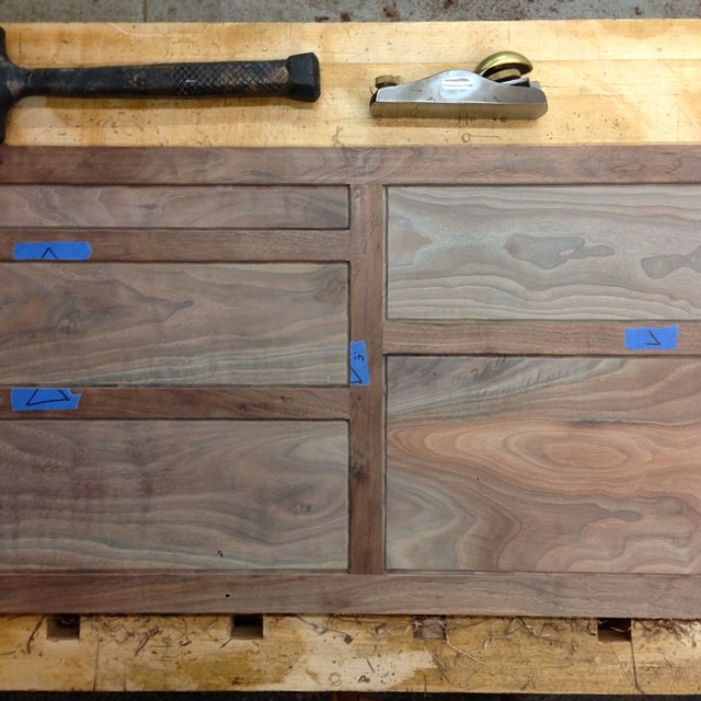Dry-fitting the back frame & panel assembly before pre-finishing the panels… #letsmakeadresser #walnut