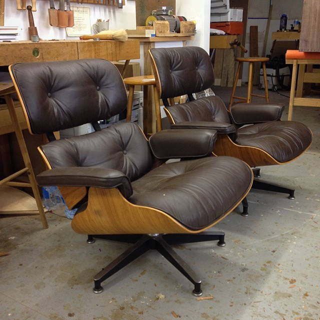 Pair of Eames chairs ready to be put back into service, good as old.