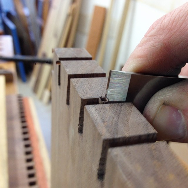 Really excited about this- I reground a flat carving chisel, which are generally much thinner than regular bench chisels, into a super low-angle paring chisel so I could work inside the sockets on the tail-boards for these dovetails. Not exactly, you know, *stop the presses*, but I'm excited about it anyway. #letsmakeadresser
