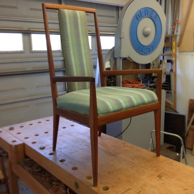 On the bench today: this cool old Danish chair. Solid teak, not sure about the maker. (Any thoughts, @sidecar_furniture , @russellgale ?) The finish is looking tired; the upholstery, exhausted. Excited to get this thing looking sharp again.