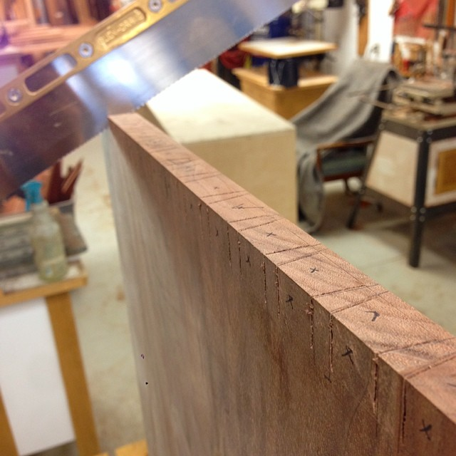 Sawing pins for the dovetailed case. I think this will pretty much be my view for the next two months or so. #letsmakeadresser
