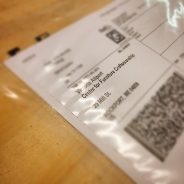 I am really excited about this shipping label. #woodschool #letsmakeadesk