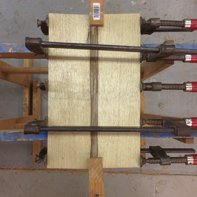 Resawn and bookmatched panel, soon to be 10' of cross-grain edgebanding. #letsmakeadesk