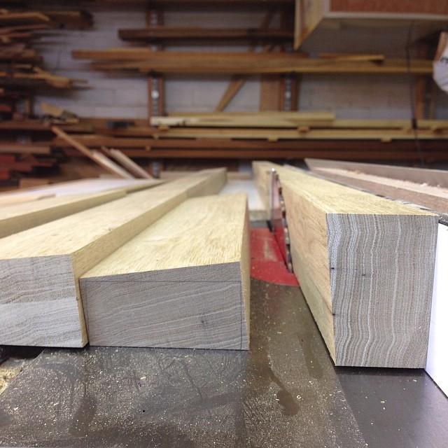 Ripping flat-sawn chunks into rift-sawn blanks. #letsmakeadesk