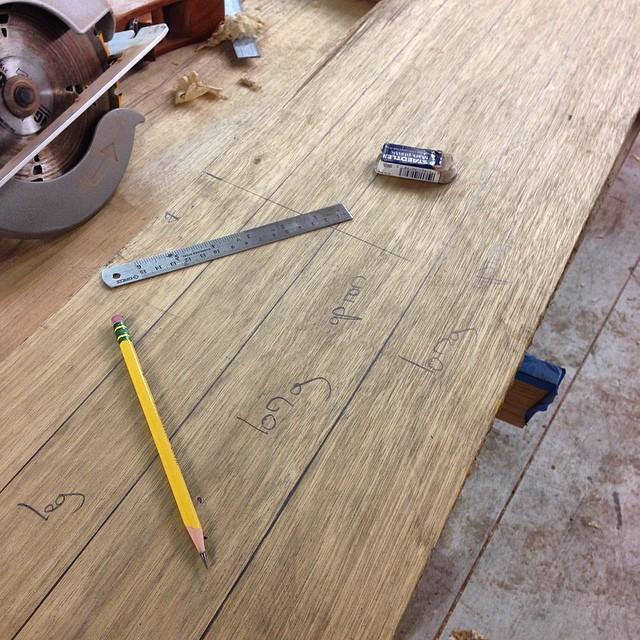 Laying out some desk parts in black limba.