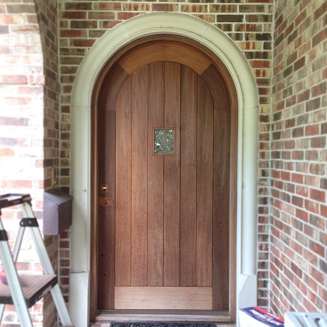 On for today: refinishing this (gigantic) mahogany entry door from a few years back. Always nice to see a familiar face.