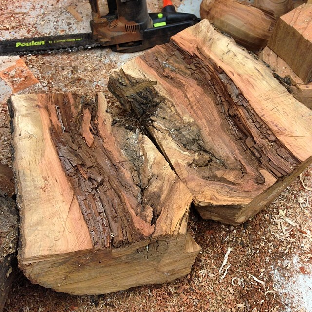 Splitting an old chunk of pear that came down in a storm a few years ago. Hopefully there are a few bowls somewhere in there. And yes, that is an electric chainsaw, because I am a hollow-chested city boy.