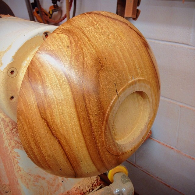 Spalted Pecan bowl in the works. The wood came from a tree that came down here in Montrose. #montrose #houston #emptybowlshou