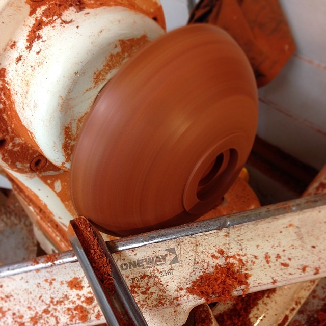 Using the aptly-named bowl gouge to shape the outside of the bowl. #letsmakeabowl #emptybowlshou