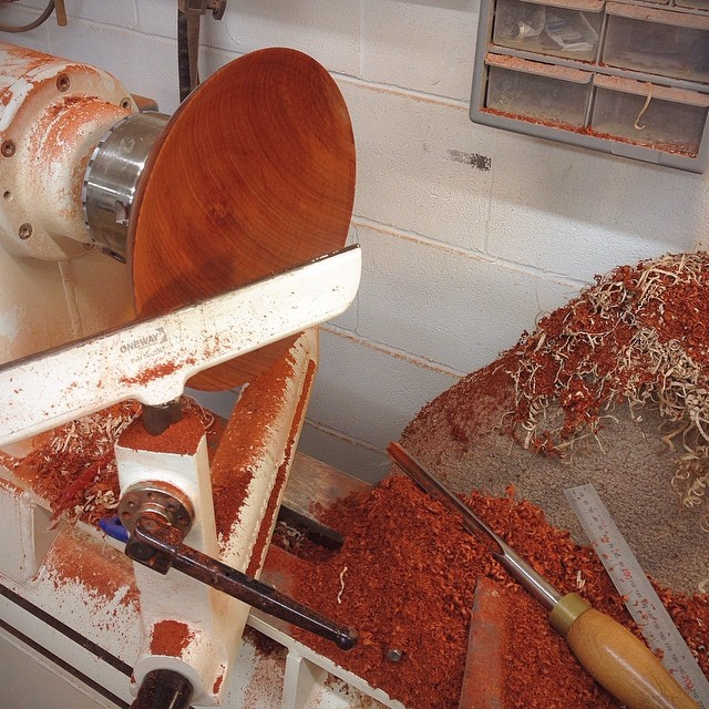 Quartersawn padauk bowl in the works. This will be one of a matched set of ten. #emptybowlshou