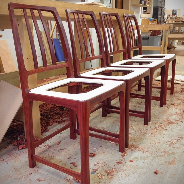 Seat frames are all set. Sweet Lion of Zion these things are ready for upholstery. #letsmakesomechairs