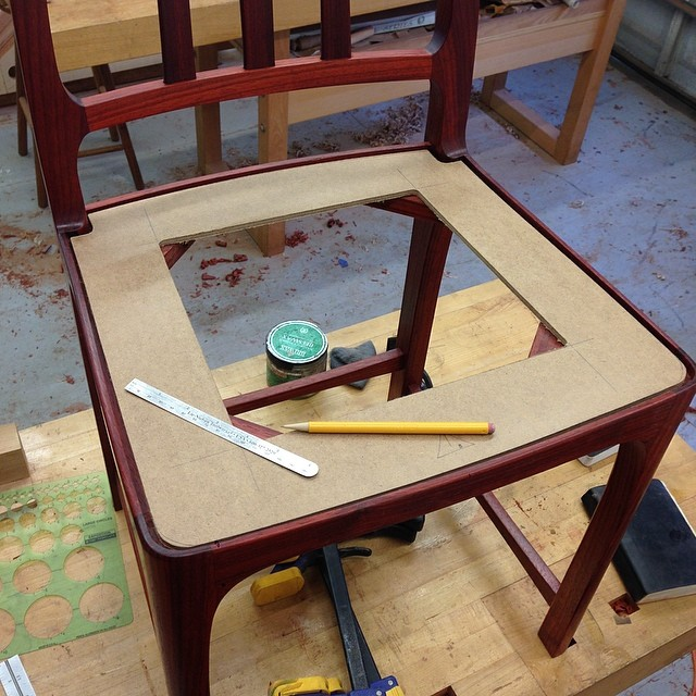 Figuring out offsets for the seat frame template. #letsmakesomechairs