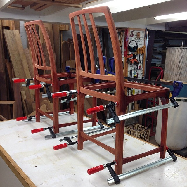 Two of four chairs all glued up. #superhopeididntforgetsomething #butiprobablydid #letsmakesomechairs