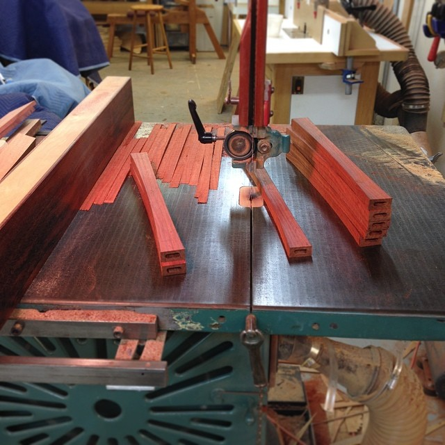 Sawing the stretchers to shape. #letsmakesomechairs